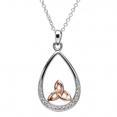 Trinity Knot Pendant - Sterling Silver Trinity Knot Stone Set Rose Gold Plated Pendant
