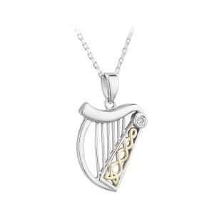 ijsv46184-irish-necklace-diamond-silver-10k-gold-celtic-harp-pendant