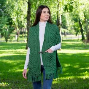 Ladies Merino Wool Aran Knit Shawl with Pockets | IrishShop.com