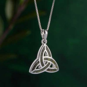 Sterling Silver and Connemara Marble Trinity Knot Pendant | IrishShop.com