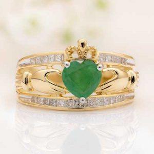 14k Gold Emerald & Diamond Irish Claddagh Ring