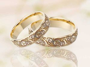 Irish Wedding Rings Celtic Triskele Pair