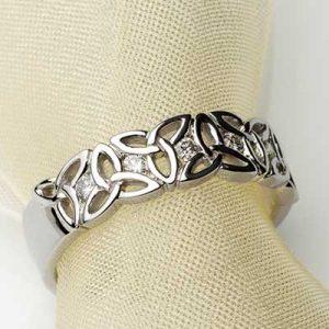 14k White Gold Trinity Celtic Knot Irish Wedding Ring