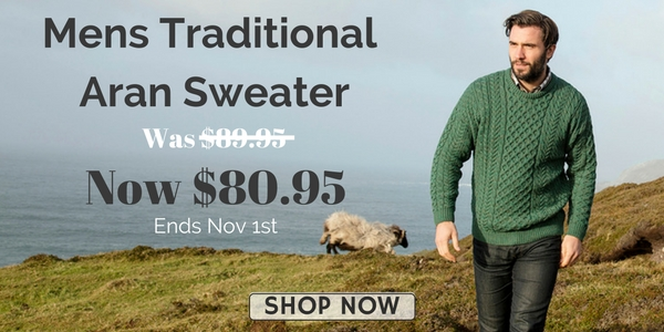10% OFF Irish Mens Traditional Aran Sweater