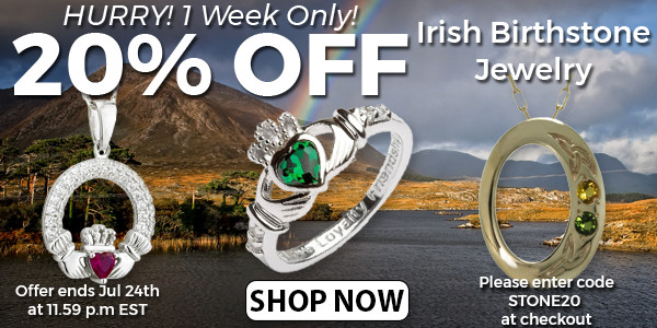 20% OFF Irish Birthstone Jewelry! Hurry, 1 Week Only!