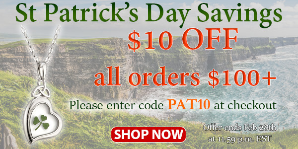 St. Patrick's Day Savings: $10 OFF All Orders of $100+