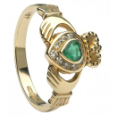 Irish Claddagh ring with emerald and diamonds