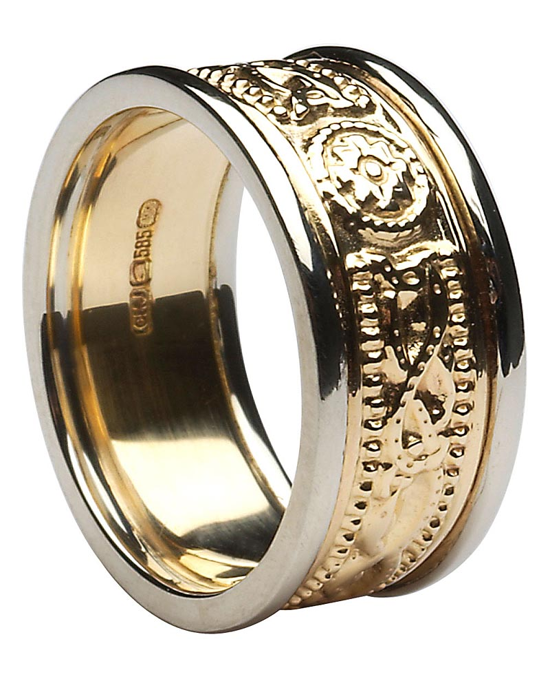 Celtic Ring - Ladies Yellow Gold with White Gold Trim Celtic Warrior Court Wedding Band