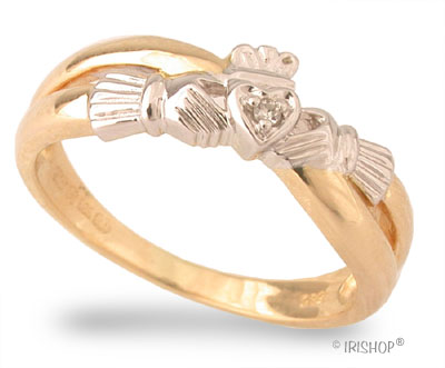 Claddagh Ring - Ladies 14k Yellow Gold and Diamond Claddagh Kiss