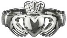Claddagh Ring - Men's 14k White Gold Puffed Heart Extra Heavy Claddagh