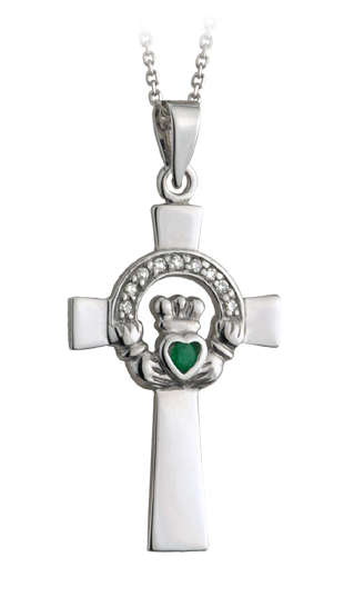 Celtic Pendant - 14k White Gold with Emerald and Diamonds Claddagh Celtic Cross Pendant with Chain