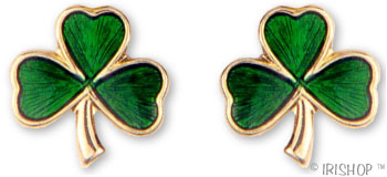 18k Gold Plated Shamrock Enamel Earrings