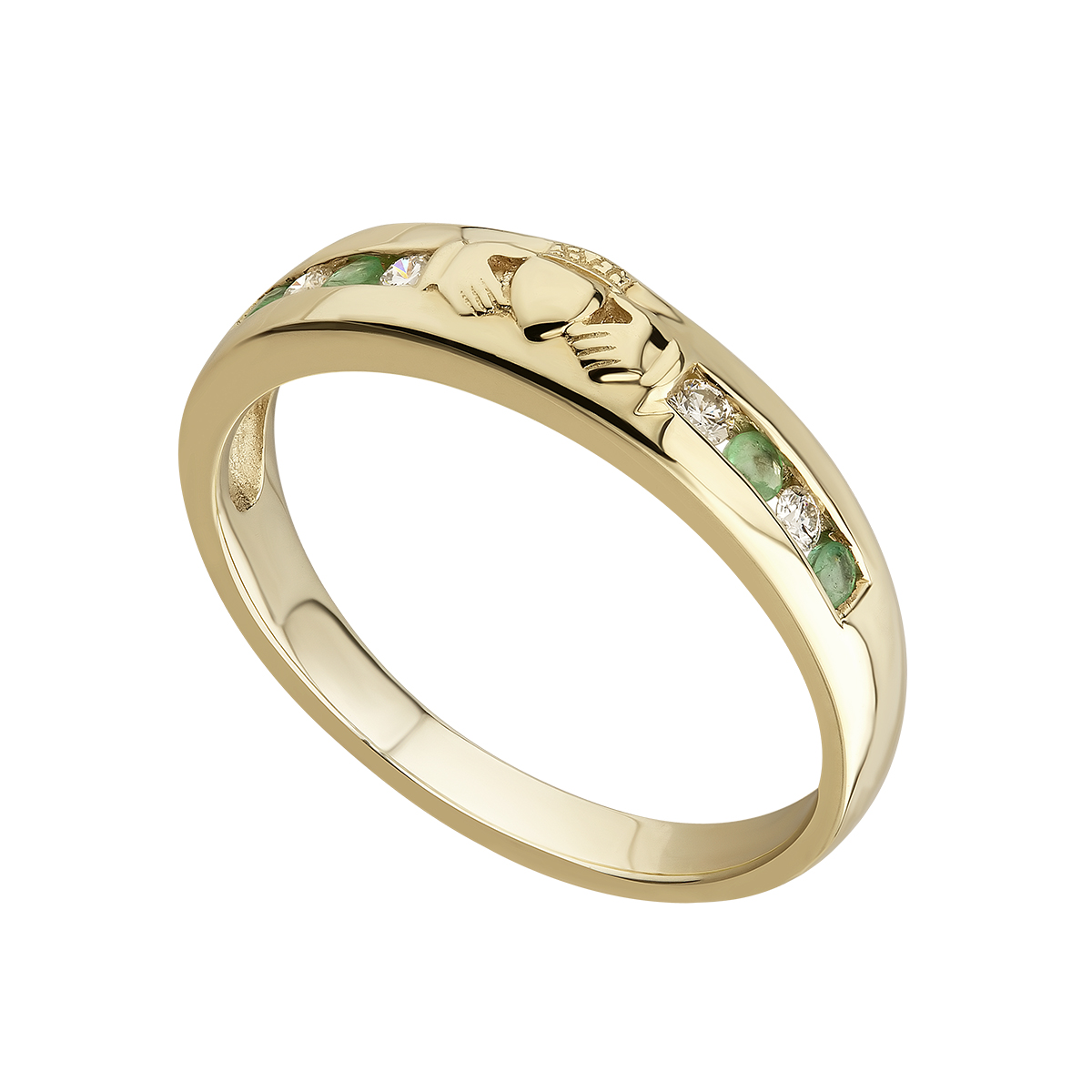 Claddagh Ring - Ladies 14k Gold with Diamonds and Emeralds Claddagh Eternity