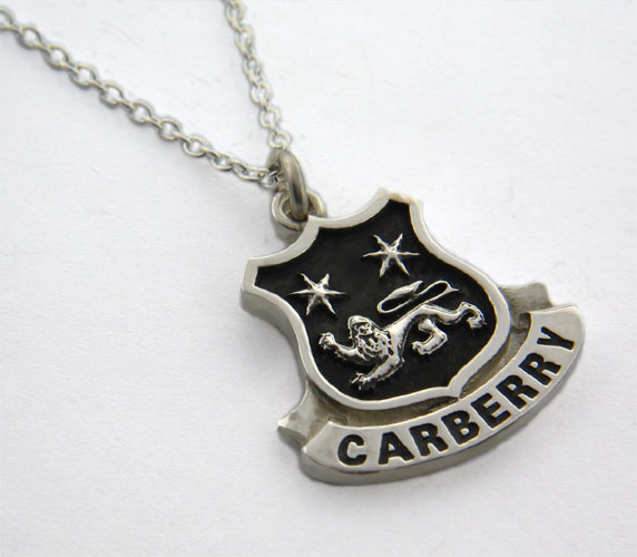 Irish Necklace - Sterling Silver Personalized Coat of Arms Shield Pendant
