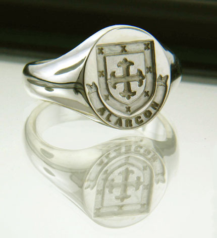 Irish Rings - Personalized Sterling Silver Coat of Arms Ring - Medium