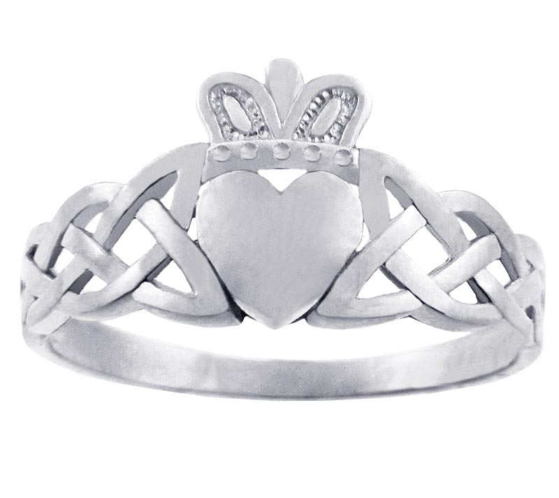Claddagh Ring - Ladies White Gold Claddagh Ring with Trinity Knot Band
