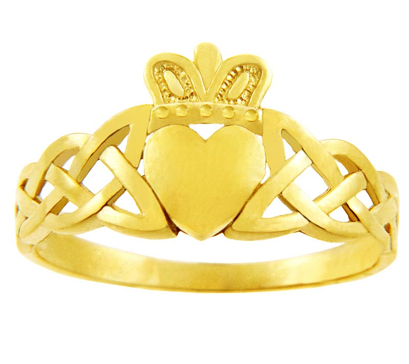 Claddagh Ring - Ladies Yellow Gold Claddagh Ring with Trinity Knot Band