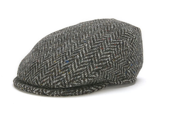 Vintage Irish Donegal Tweed Cap Black Herringbone
