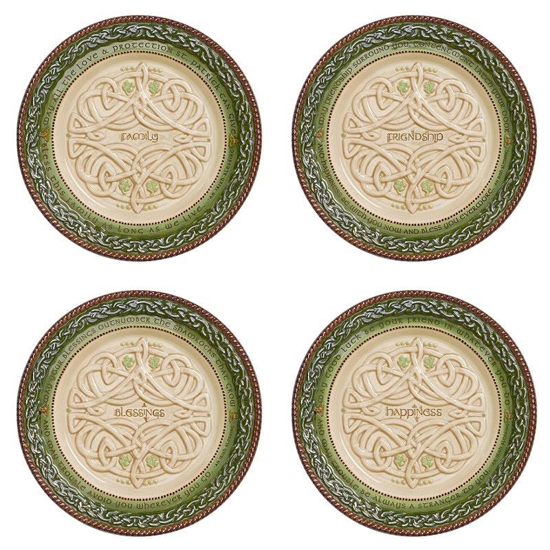 Irish kitchen celtic dessert plates set of 4 at for Kitchen set plates