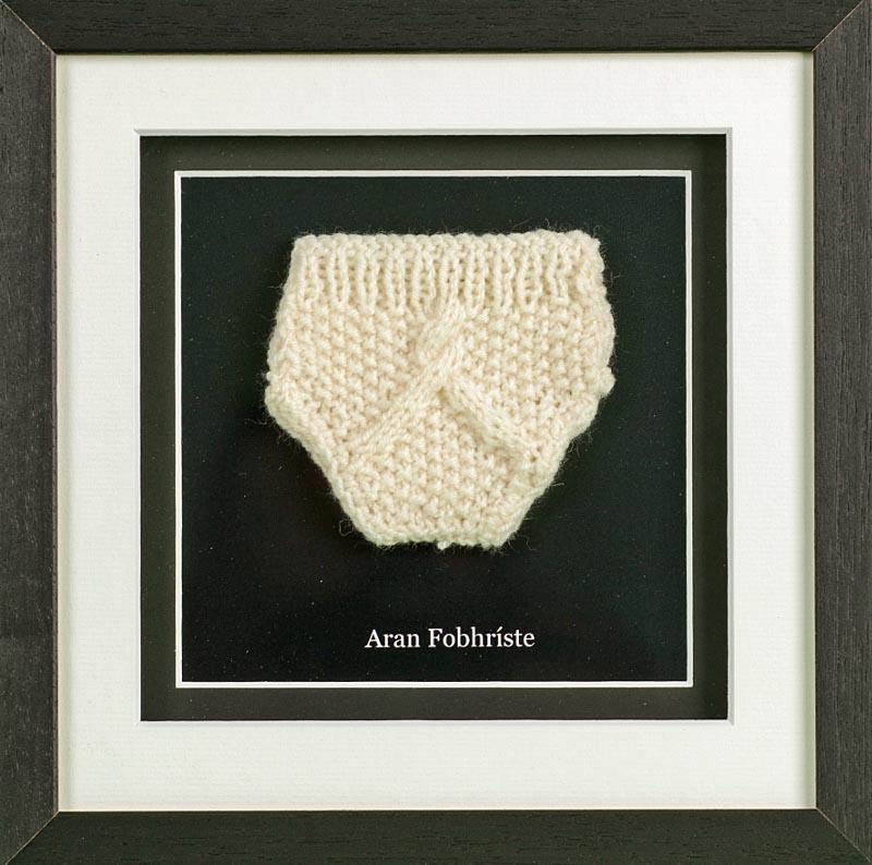 Irish Wall Decor - Aran Knit Underwear Hand Knit Minature Framed ...