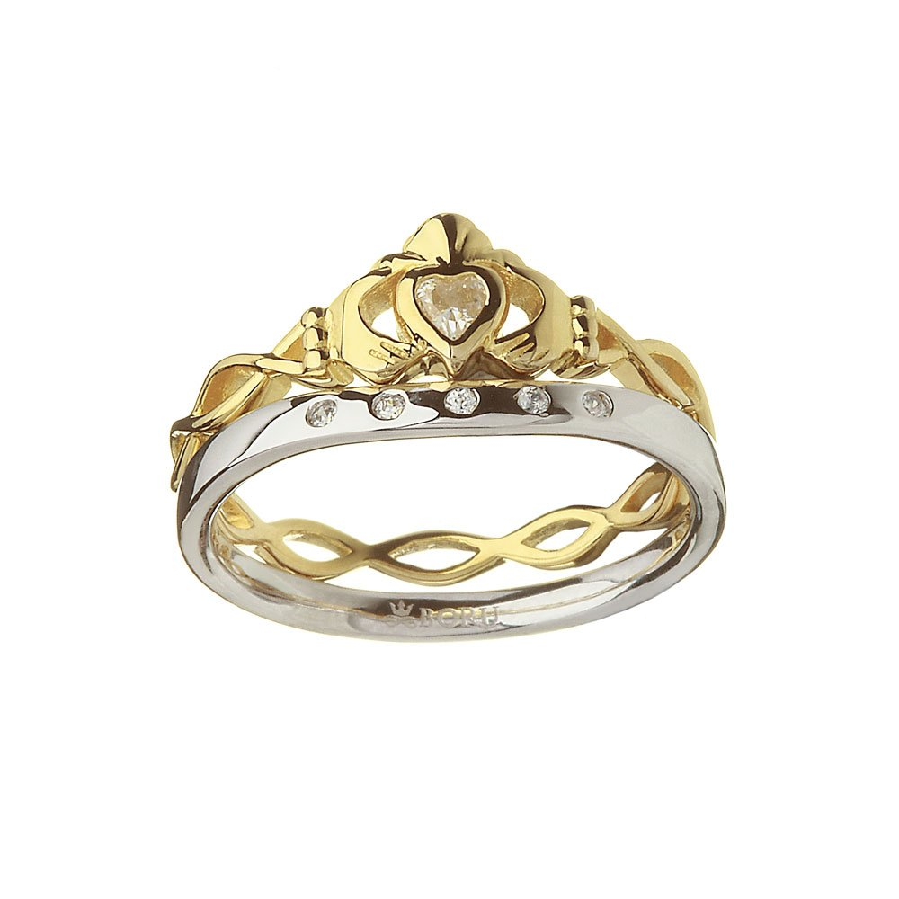 Irish Ring - 10k CZ Claddagh with Twisted Band with Silver Matching Ring