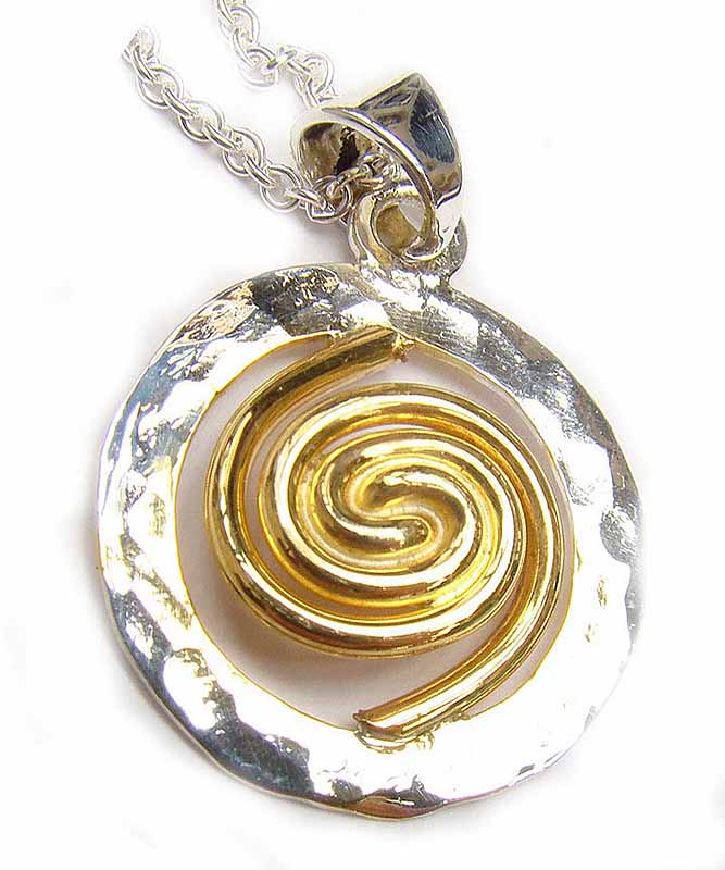 Celtic Necklace - Sterling Silver with 22k Gold Plating Spiral of Life Circle Pendant