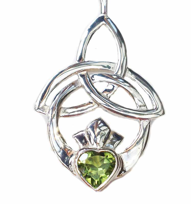 Celtic Necklace - Trinity Knot Claddagh Pendant - Peridot