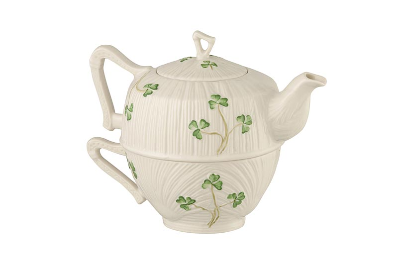 Belleek Harp Shamrock Tea for One
