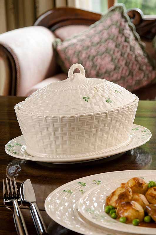 Belleek Shamrock Oval Covered Dish