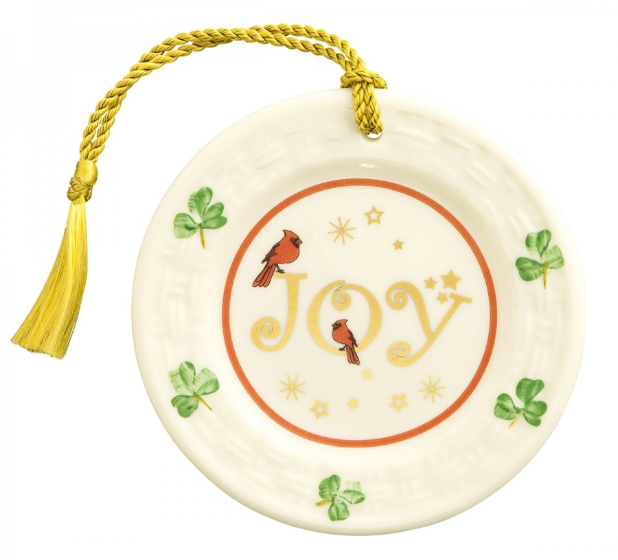 Irish Christmas - Belleek Joy Plate Ornament at IrishShop.com | BLK4145