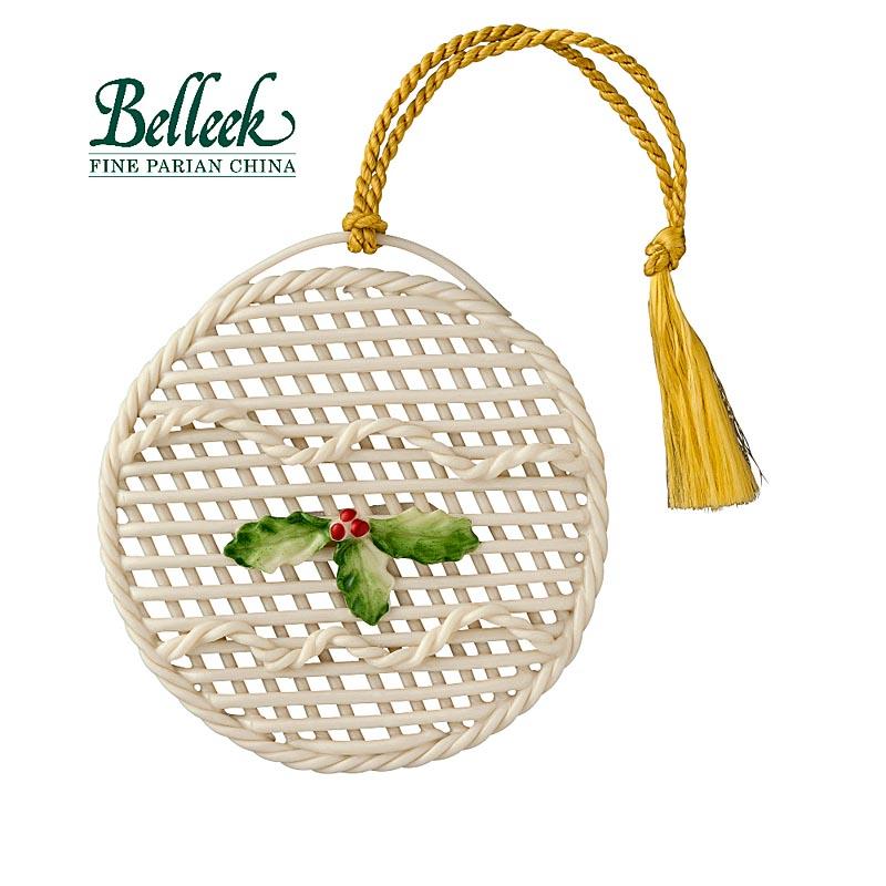 Irish christmas belleek holly flat ornament at irishshop