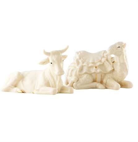 Irish Christmas - Belleek Classic Nativity Manger Set - Ox and Camel