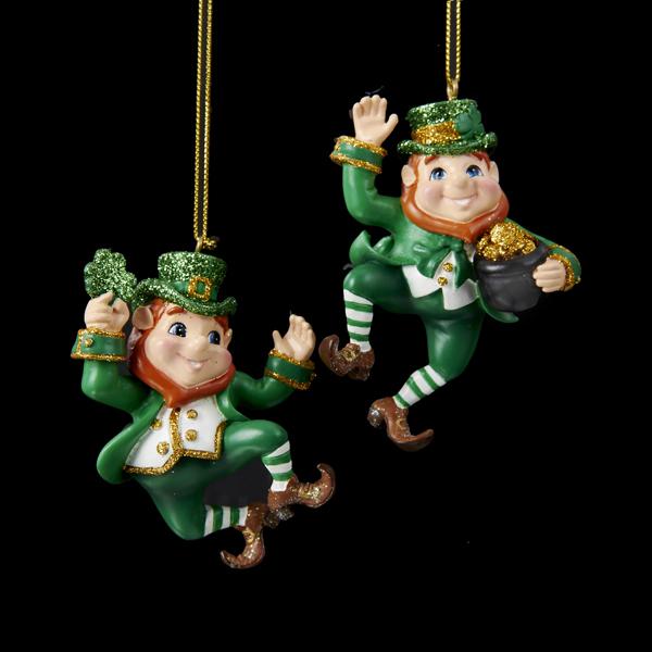Irish christmas dancing leprechauns ornaments set of