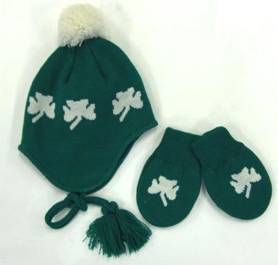 345be1fe23d Irish Shamrock Infant Hat and Mittens Set at IrishShop.com