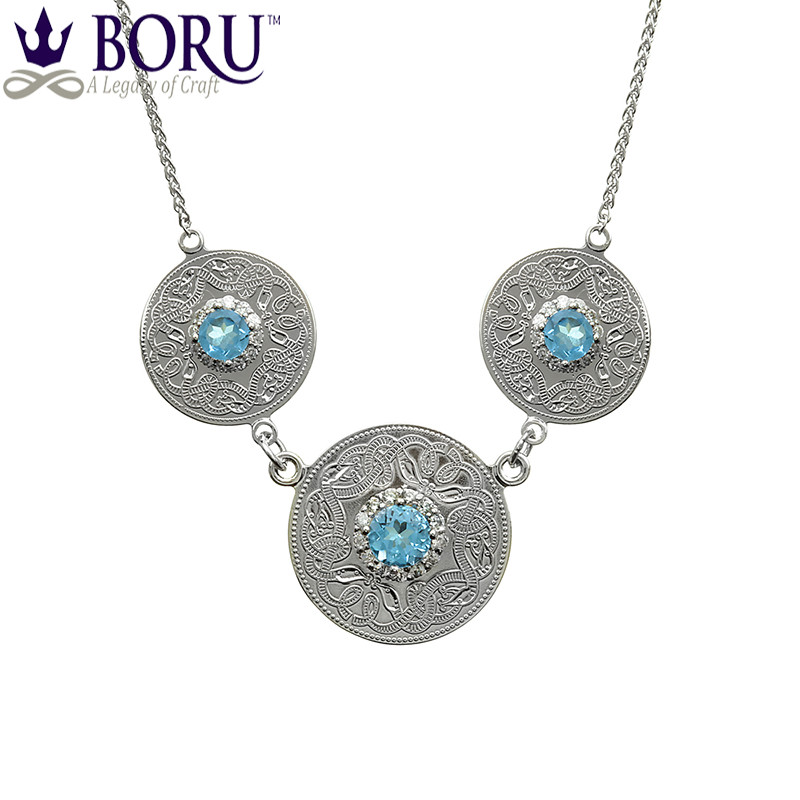 Celtic Necklace - Celtic Warrior Triple Pendant with Swiss Blue & Clear CZ