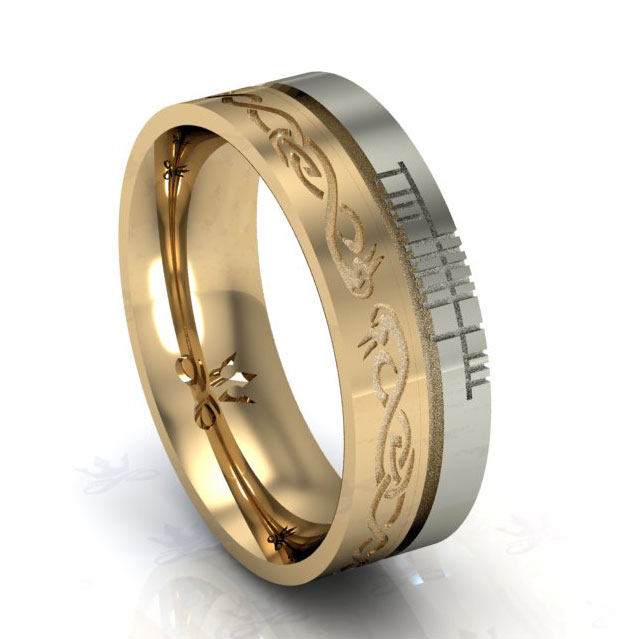 "Irish Rings - Comfort Fit ""Faith"" Le Cheile Design Wedding Band"