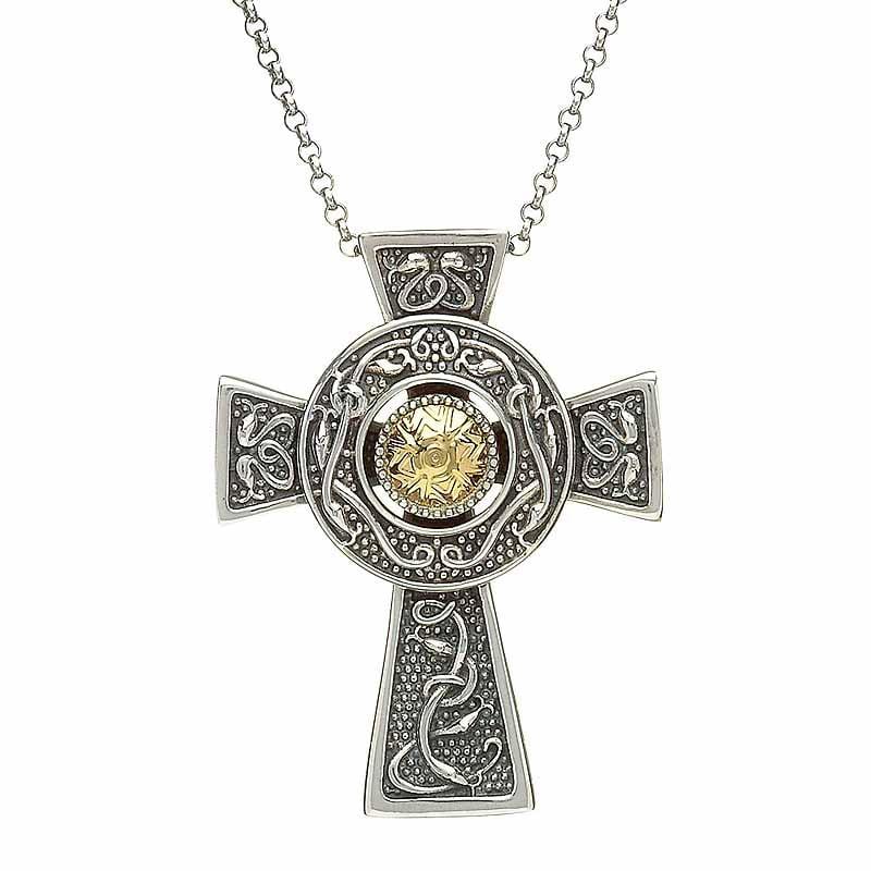 celtic cross pendant antiqued sterling silver with 18k. Black Bedroom Furniture Sets. Home Design Ideas