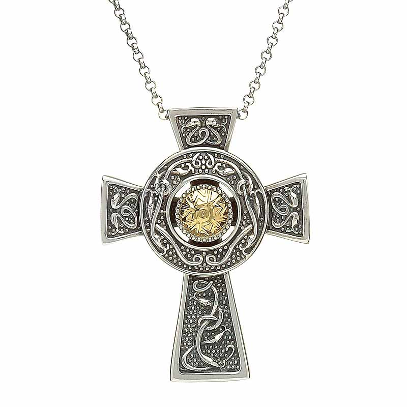 Celtic cross pendant antiqued sterling silver with 18k gold bead celtic cross pendant antiqued sterling silver with 18k gold bead celtic cross necklace aloadofball Gallery