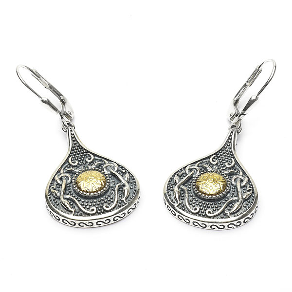 Celtic Earrings - Antiqued Sterling Silver with 18k Gold Bead Teardrop Irish Earrings