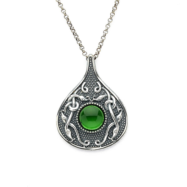 Celtic Pendant - Antiqued Sterling Silver with Green Glass Stone Teardrop Irish Necklace