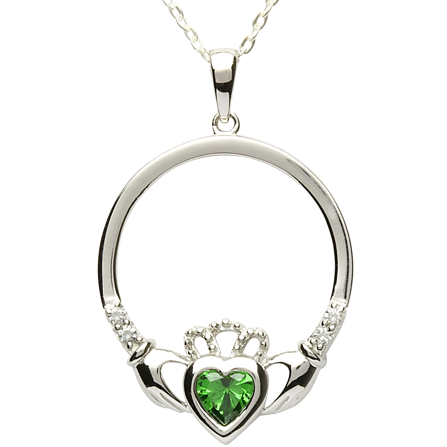 birthstone december diamond topaz necklace pendant claddagh silver