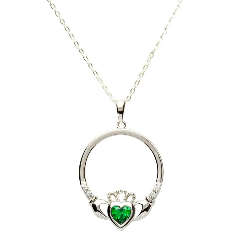 claddagh sterling birthstone celtic mccormack pendant authentic jewellery r shop dublin march silver irish c pendants