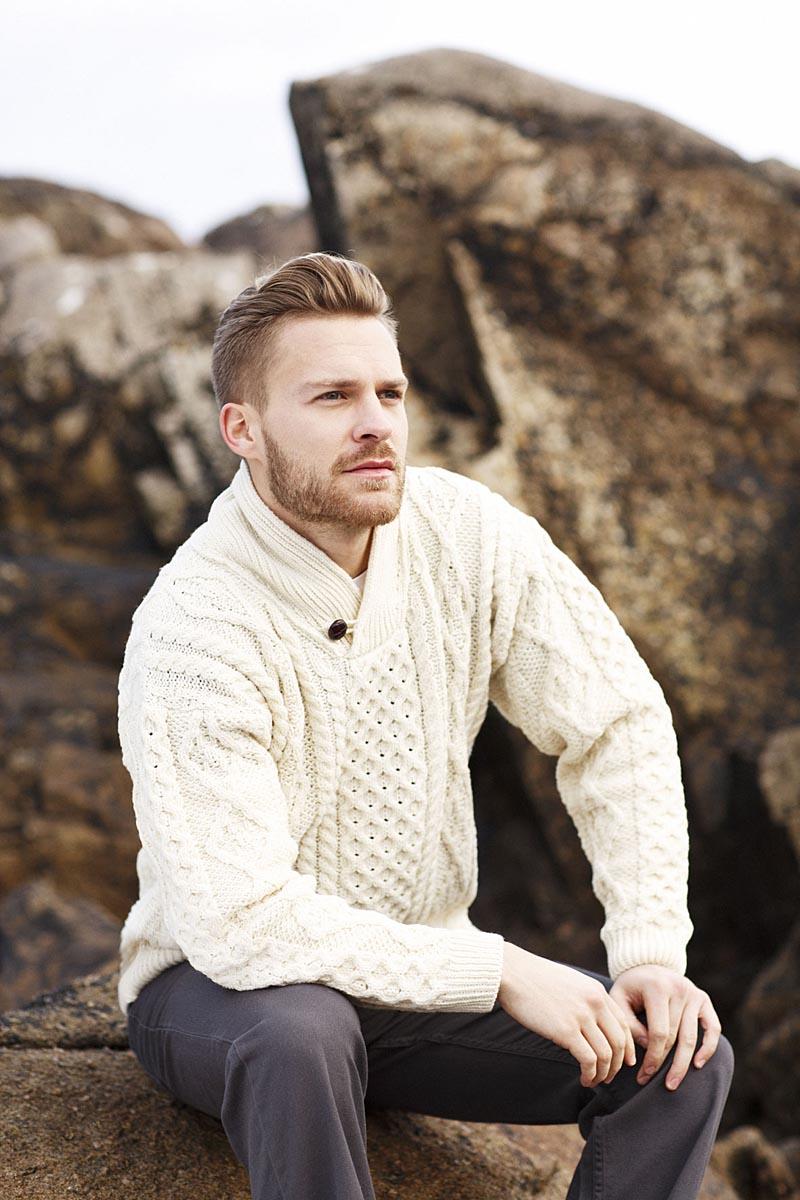 Irish Wool Sweater Mens Merino Wool Shawl Collar Sweater At