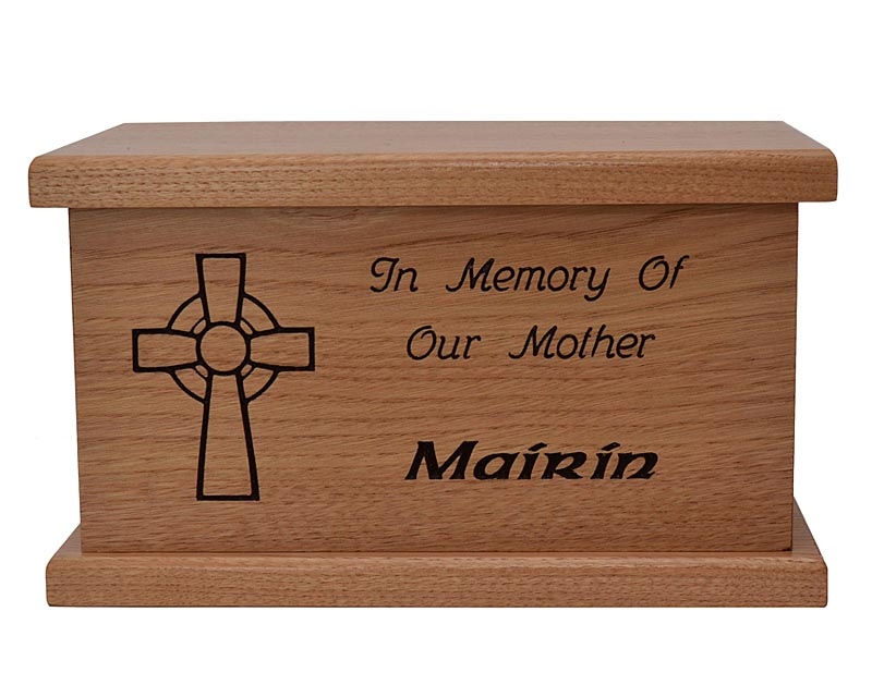Personalized Irish Urn - 100% Irish Wood Celtic Cross Urn
