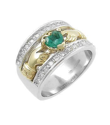 Claddagh Ring Ladies 14k Two Tone Gold Emerald And