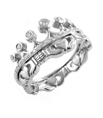 Claddagh Ring Ladies 14k White Gold Claddagh with Diamonds Irish