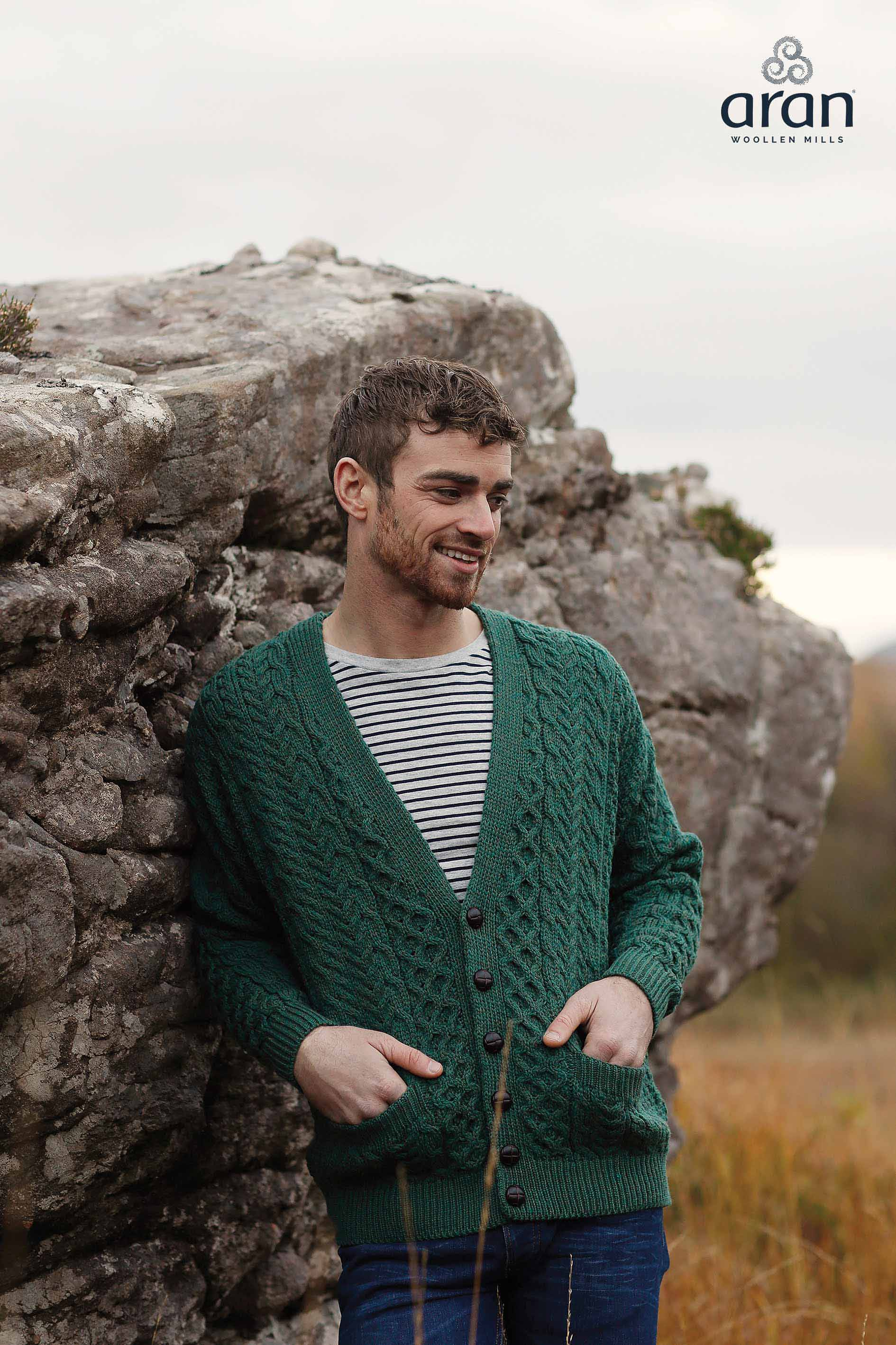 Irish Wool Sweater - Men's Merino V-neck Cardigan