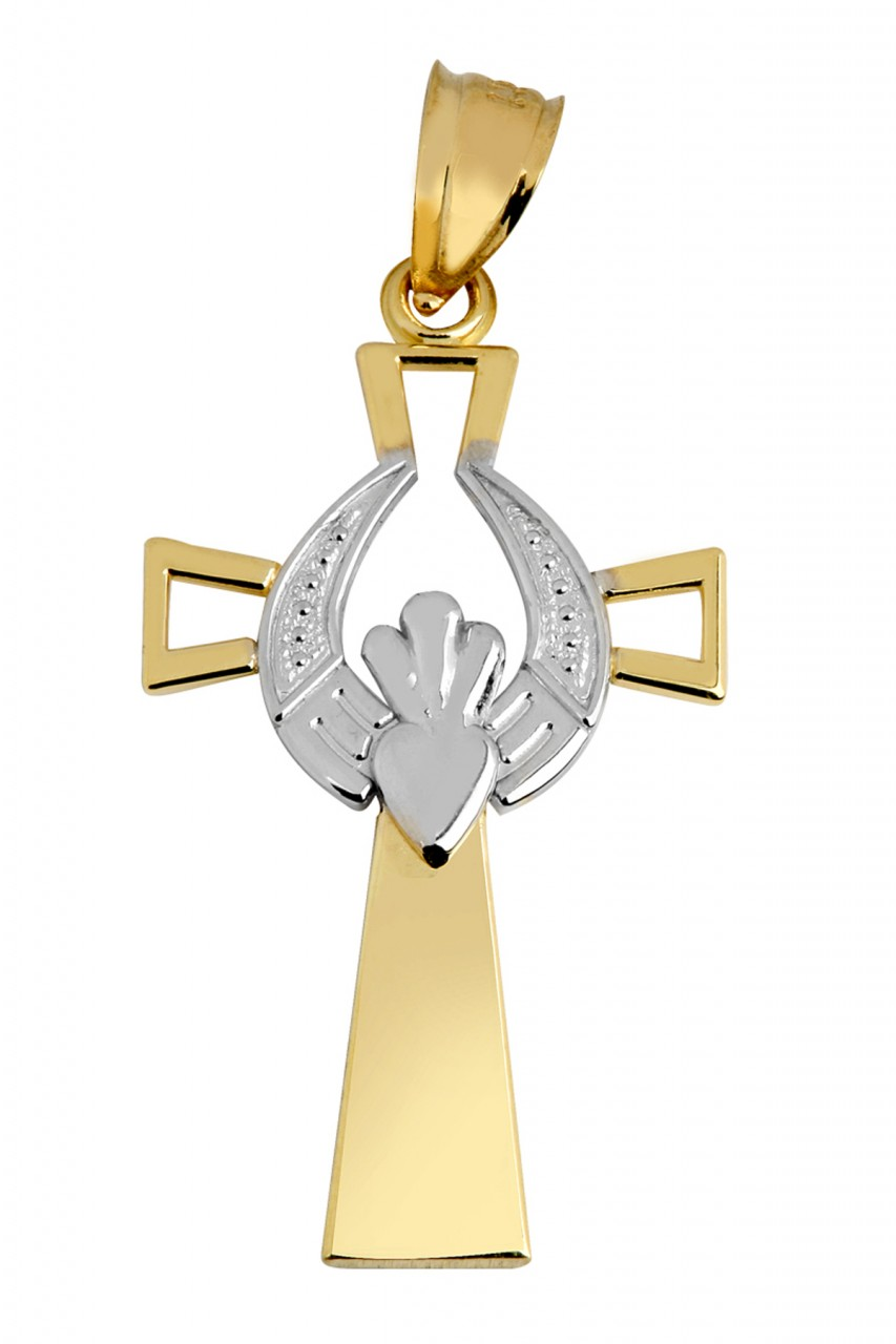 Claddagh Pendant - Two Tone Gold Modern Claddagh Cross