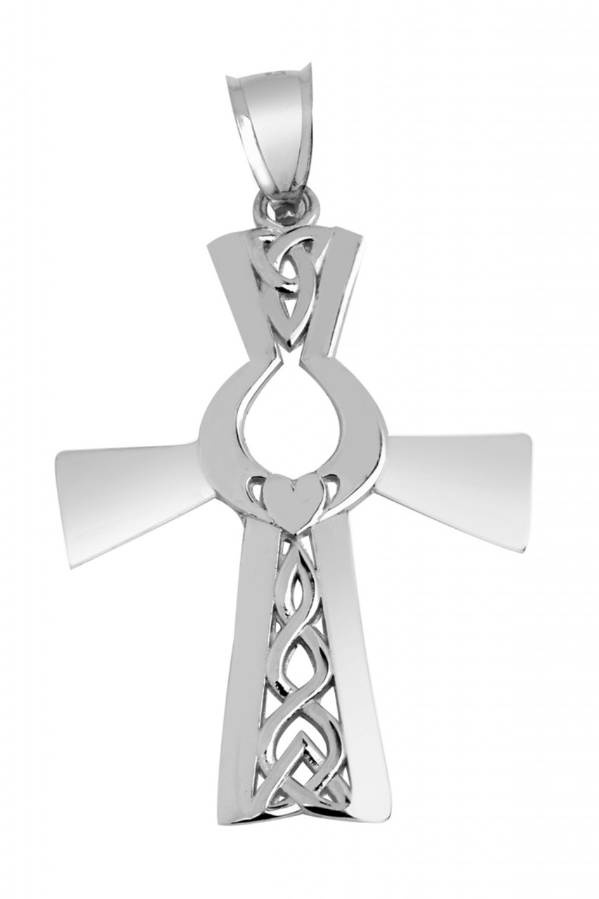Claddagh Pendant - White Gold Claddagh Celtic Cross