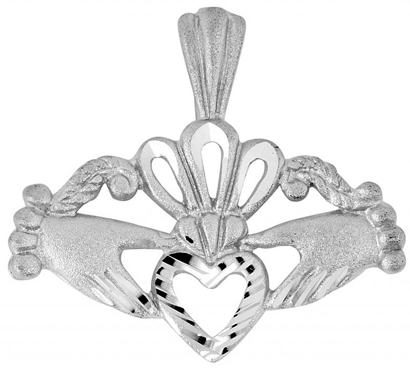 Claddagh Pendant - White Gold Fancy Claddagh